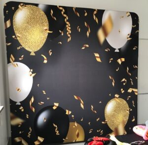 black, gold, white ballons 3d backdrop